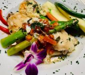Pan Seared Grouper topped with Blue Crab